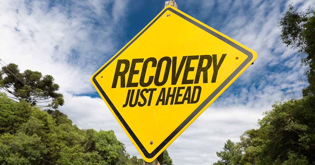 "Sign that says ""recovery just ahead"""